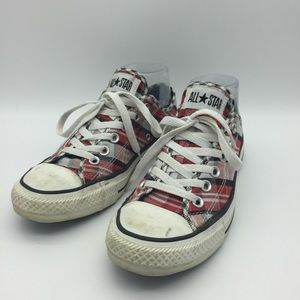 CONVERSE WOMENS SIZE 6.5 PLAID RED SILVER SH10